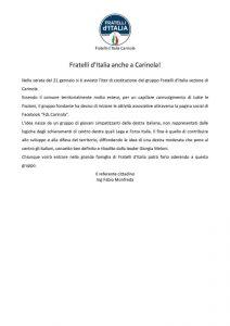 """COMUNICATO-DI-MONFREDA-212x300 A CARINOLA SI COSTITUISCE GRUPPO POLITICO DI """"FRATELLI D'ITALIA"""""""